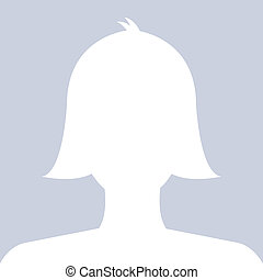Female profile avatar icon white on blue background use for...