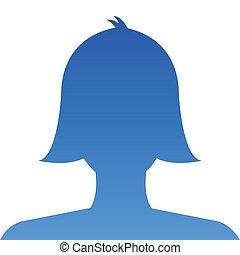 Female profile avatar icon blue on white background use for...