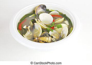 Tom yum or tom yam is a spicy clear soup typical in Laos and...