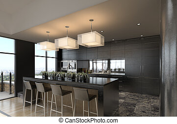 Modern Kitchen - Modern kitchen with beautiful view over the...