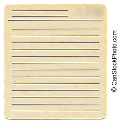 Dirty old yellowing blank index paper card isolated on white...