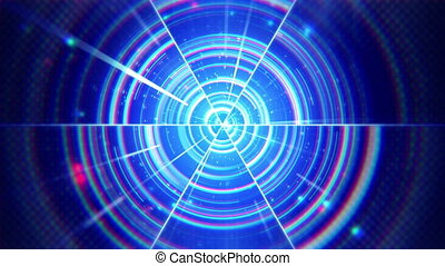 blue techno concentric segments loop