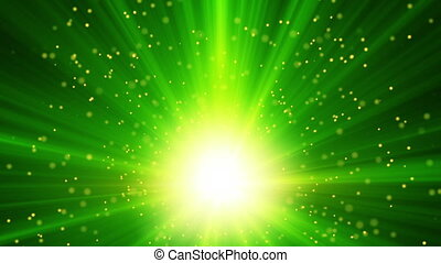 green light and particles loop background - green light and...