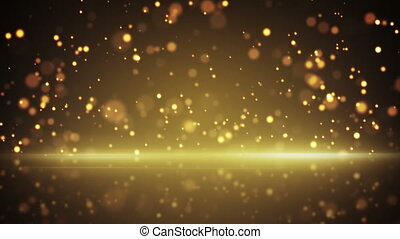 flying gold particles and reflection loop background