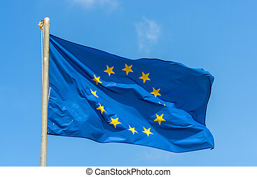 European Union Flag - Waving European Union Flag Against The...