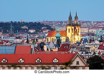 Prague cityscape with cathedral