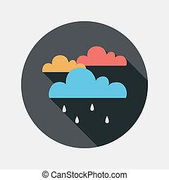 pluie, plat, icône, long, ombre