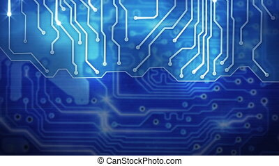 blue computer circuit board loop background