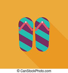 flip flop flat icon with long shadow