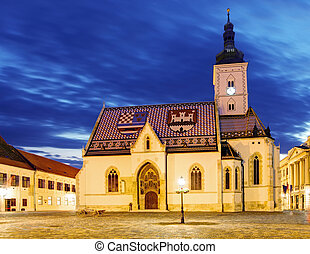 Church at night in Zagreb, Croatia