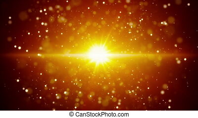 gold light and flying particles loop background - gold light...
