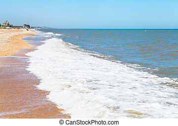 beach of Sea of Azov in settlement Golubickaya - sand and...