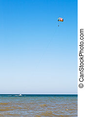 Parasailing on Sea of Azov, Taman Peninsula, Russia