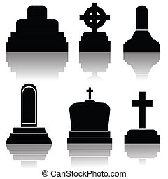 set of gravestone silhouettes - colorful illustration with...