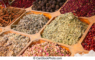 Spice souk in Dubai - Colorful spices on the traditional...