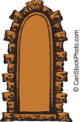 Old window with a stone archway, hand-drawing. Vector illustrati