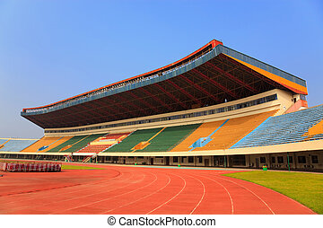 Stadium - Field and tribunes - An empty stadium with empty...