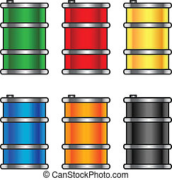 Colourfull metallic barells - Set of metallic barrels with...