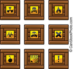 Wooden crates with danger signs