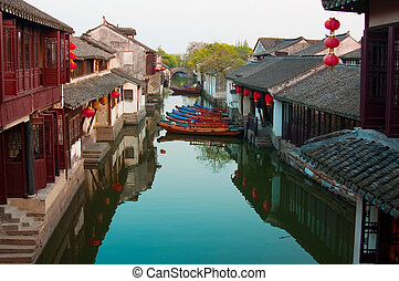 Zhouzhuang - Famous water village Zhouzhuang in Jiangsu...