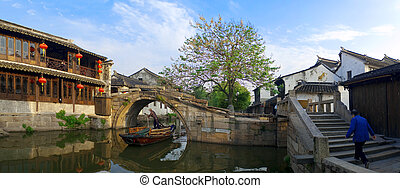 Bridges and houses in Zhouzhuang - Famous water village...