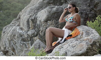 Woman with tablet on beach - Beautiful girl on the beach...