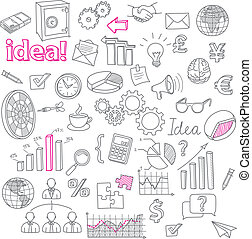 Hand Drawn Business Doodles vector set