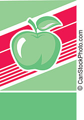 Green apple lable - Illustration of a green apple lable