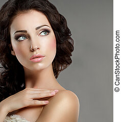 Femininity. Groomed Woman's Face with Natural Makeup. Pure...