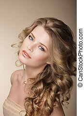 Pure Beauty. Exquisite Woman with Perfect Curly Ash-Colored...