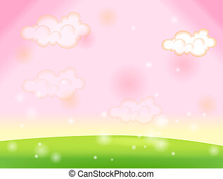 Green lawn and sky pink - pink sky with white cloud and...