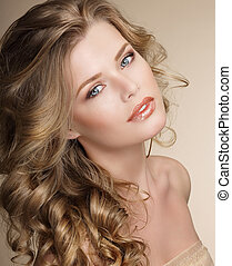 Perfection Gorgeous Female with Frizzy Ashen Healthy Hair