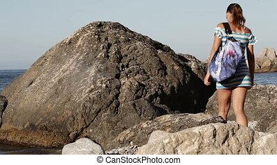 Girl on sea beach
