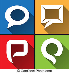 Speech bubble icons set vector illustration