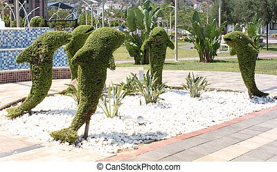 Topiary, dolphines along the prom at fethiye in turkey ,...