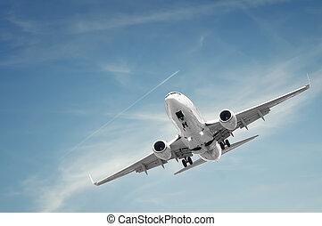 passageiro, avião, aterragem