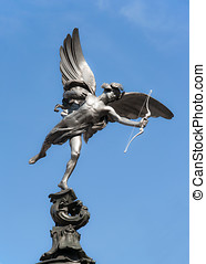 Eros statue at Piccadilly Circus, London - Eros statue at...