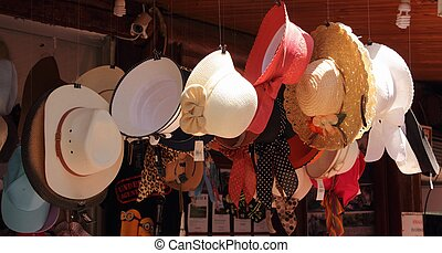 Collection of hats in fethiye, turkey