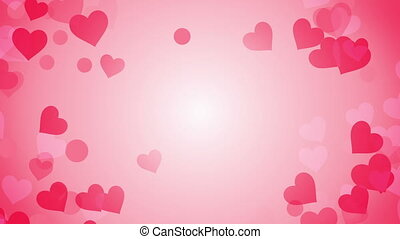 heart shapes on bright background loop