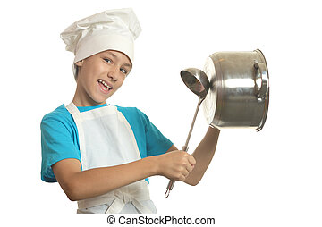 Little kitchen boy beats in sausepan with ladle