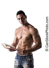 Shirtless Muscular Sexy Man Reading Big Book - Shirtless...