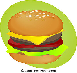 Hamburger fastfood - Hamburger with cheese tomatoes and...