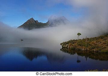 Lake Dove in mist, Tasmania