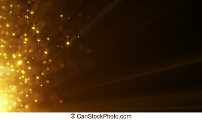 flying gold particles seamless loop background - flying gold...