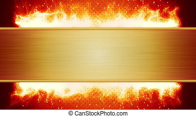 blank plate and flaming fire loop