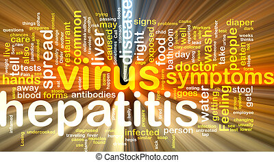 Hepatitis word cloud glowing - Word cloud concept...