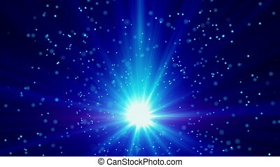 blue light and particles loop background - blue light and...