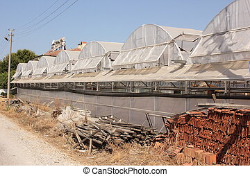 Greenhouses - Rows of greenhouses in turkey