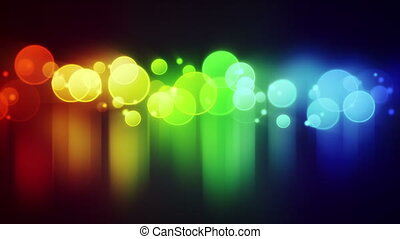 colorful circle lights with reflections loop background -...