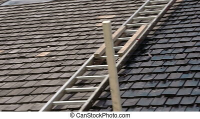The newly cosntructed rooftop with wooden oil tarred...